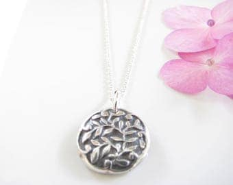 Leaf Silver Necklace - Simple Pendant of Leaves Necklace - Oxidized - Hand Made from Fine Silver - Sterling Chain - Ready to Ship