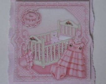Pk 2 Pink New Baby Girl Beautiful Embellishments For Cards & Crafts