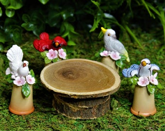 Miniature Fairy Garden Porcelain Ceramic Bird Figurines on the Stand like Thimble with Small Wood Table, Dollhouse Decoration Accessories,