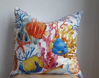 19x19 Underwater pillow cover, Throw pillow, zipper close, decorative pillow