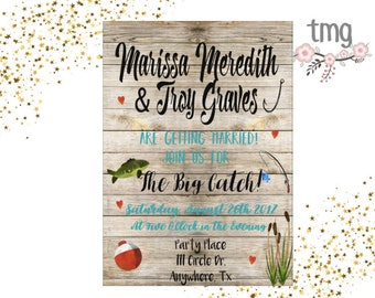 Wedding Invitation Fishing Theme, Wedding Invites, Fishing Theme, Rustic wedding Invitation, Digital File