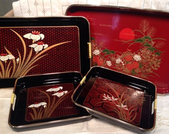 4 Toyo Lacquer Serving Trays