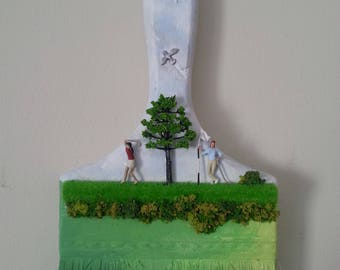 Re-purposed Quirky Paintbush Miniature Figures Ladies Golf Scene hand-painted handmade - golfers on green. Tiny People.