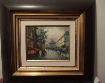 Picture oil on canvas landscape of city