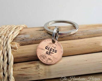 Graduation Key Chain, Penny Key Chain, Commencement Gift, Class of 2017, Graduation Gift, Gift for the Graduate