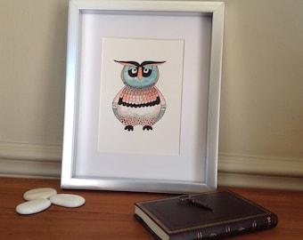 Original owl watercolor/owl illustration/owl decoration
