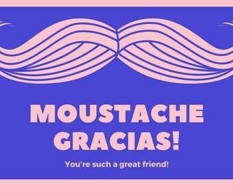 Moustache Gracias Postcard