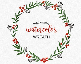 Hand-painted wreath with red berries, PNG.  Flower wedding clipart, hand painted watercolor wreath, green leaves