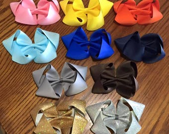 7 Inch Boutique Bows, Big Bows, Handmade Bows, Pink Bow, Yellow Bow, Orange Bow, Gold Glitter Bow, Silver Glitter Bow, Blue Bow, Navy Blue