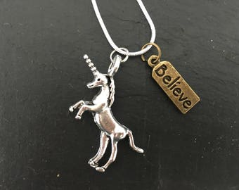 Unicorn believe necklace