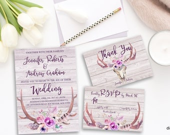 Printable Rustic Bohemian  Wedding Invitation Suite Floral Deer Antlers Digital Pink Watercolor Flowers Boho Wedding Bohemian Invite WS-006