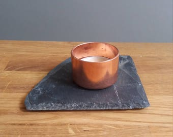 Copper and slate tealight holders