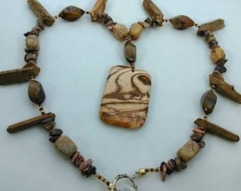 Brown and tan picture Jasper with beaded agate, tiger eye ,and Jasper accents on the necklace.