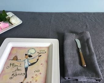 Pure washed linen tablecloth. Soft linen tablecloth. Natural flax linen tablecloth,  - Charcoal grey linen tablecloth
