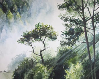 ORIGINAL watercolor painting, Fog watercolor, Forest watercolor, Large painting, Nature painting, landscape watercolor, green forest
