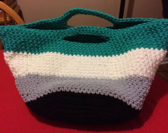 Homemade Multicolor Crochet Tote Bag