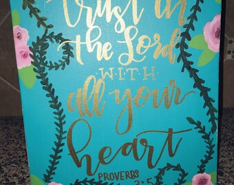 Bible Verse Canvas - Custom - Any quote - Hand Lettered -Hand Painted