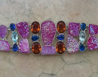 DRUSY AGATE BRACELET, Sapphire, apatite, topazes and antique silver plated 925