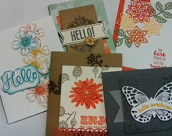 5 Handmade greeting cards with envelopes