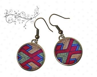 ethnic earrings, red, blue