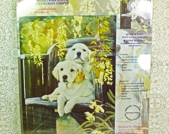 Janlynn's Embellished Counted Cross Stitch #066-0103 Golden Pair Quick and Easy with Canvas and Threads Kit