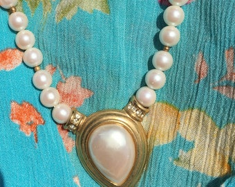 Faux pearl necklace costume jewelry