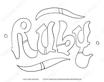 Ruby name art | Etsy