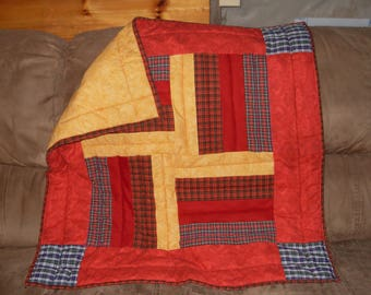 Handmade Baby Quilt, Red and gold, crib quilt, 34 1/2 X 34 1/2 in