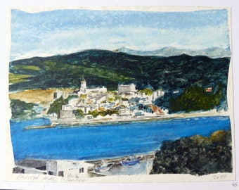 Original watercolor, gift for collectors of art, Castropol from Ribadeo, Asturias, Spain, paper and cardboard 27, 5 x 35 cm