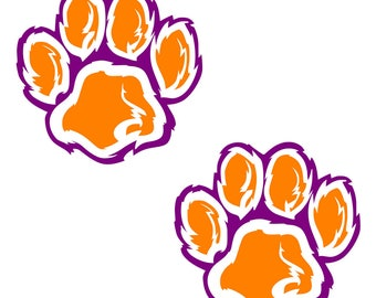 Clemson UNIVERSITY 12 inch Wall Cornhole Decals Set of 2 Tiger paws
