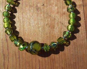 Vintage Green Glass Bracelet