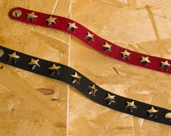 Handmade real leather bracelet with metal stars and snap fastener