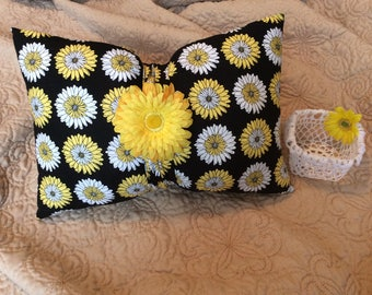 Embellished Bow Pillow and Coordinated Crocheted Basket