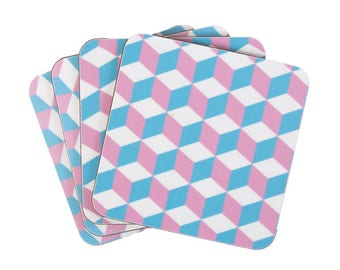 Pastel Geometric Cube Coaster Set.