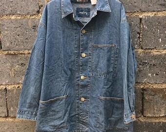 Vintage The Real McCoy's Denim McCoy Jean Long-Sleeved Shirt Men's Tops Size L