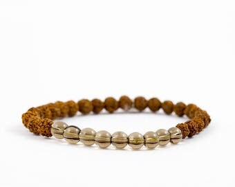 Rudraksha mala bracelet CONFIDENCE with smoky quartz gemstones - for yoga and meditation.