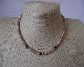 Pink Pearl and Garnet necklace