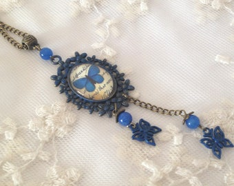 Cameo blue butterfly necklace.