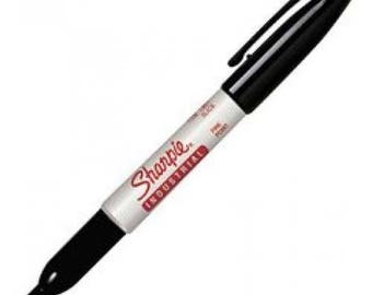 Sharpie Industrial Permanent Marker Pen, Fine Point, Black Ink, Used in Metal Stamping Designs
