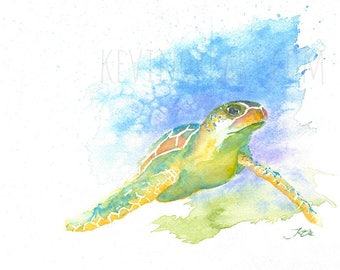 SEA TURTLE PRINT - watercolour turtle, watercolour print, turtle art, home wall decor, art decor, turtle, wildlife art