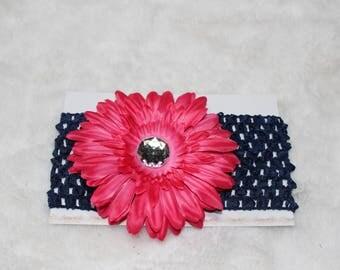 Baby/Toddler Navy Blue & Pink Gerber Daisy Crochet Headband with Silver Rhinestone