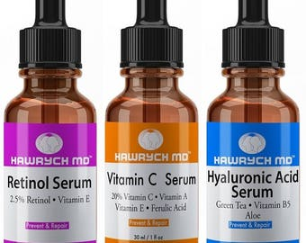 Hawrych MD 20% Vitamin C Serum  Retinol Serum and Hyaluronic Acid Serum Set