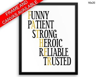Father Printed  Poster Father Framed Father  Canvas Father black and gold father gift typography
