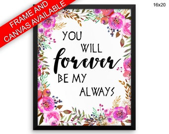 Forever Prints  Always Canvas Wall Art Forever Framed Print Always Wall Art Canvas Forever Wedding Love Poster