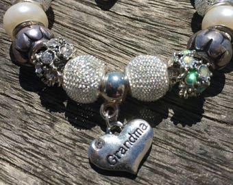European Charm Bracelet, Silver & Grey Bracelet. Grandma Charm, Silver Plated Snake Chain, Pandora Style, Gift For Grandma, Grandmother Gift