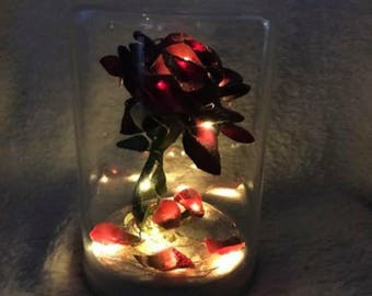 Beauty And The Beast Inspired rose in a jar