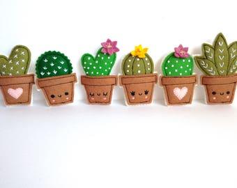 Felt cacti brooches - handmade brooch, choose your favourite design. Spilla cactus in feltro, scegli il tuo design
