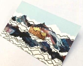 Mini mountain copper and brass pin