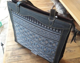 Tote bag cow leather integrate with Hmong embroidery fabric