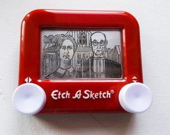 American  Gothic Etch a sketch